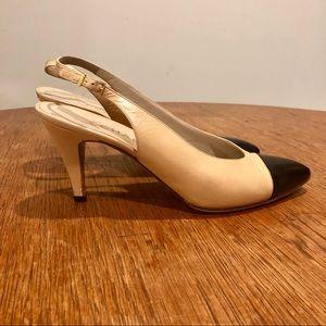 Chanel cap toe leather pumps